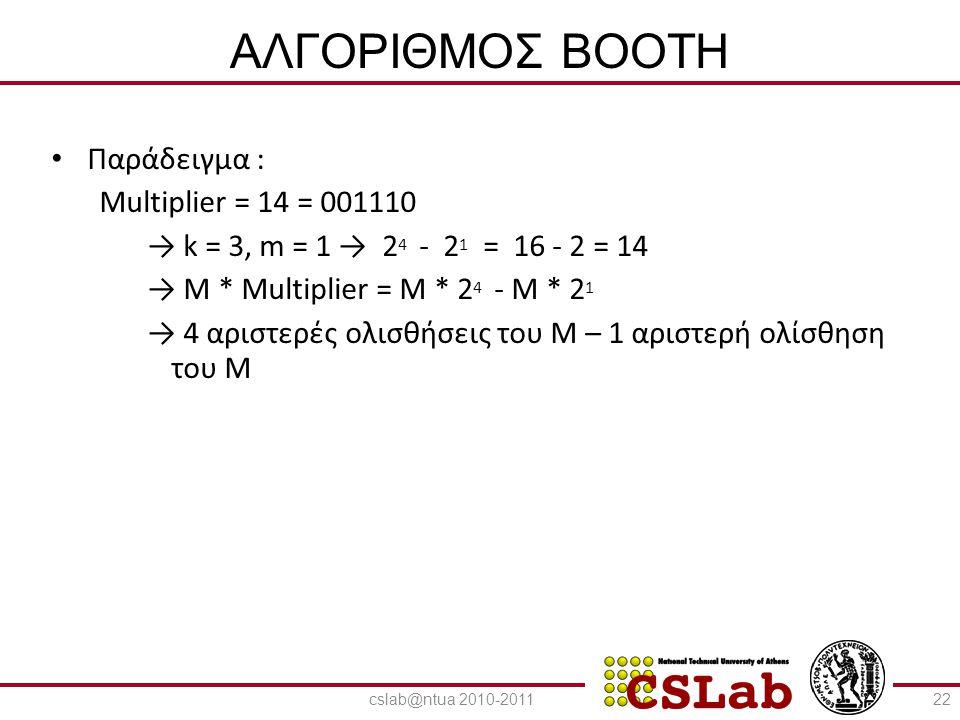 23/6/2014 ΑΛΓΟΡΙΘΜΟΣ BOOTH • Πολλαπλασιασμός Β (multiplicand) * Q * (multiplier) – Έλεγχος του τρέχοντος και του προηγούμενου bit : 01 : Τέλος μιας σειράς από 1 → Πρόσθεση του πολλαπλασιαστέου στο αριστερό μισό του γινομένου 10 : Αρχή μιας σειράς από 1 → Αφαίρεση του πολλαπλασιαστέου από το αριστερό μισό του γινομένου 00, 11 : Καμία αριθμητική πράξη – Αριθμητική ολίσθηση του γινομένου δεξιά κατά 1 bit και επανάληψη του αλγορίθμου (επέκταση του προσήμου για να διατηρηθεί το πρόσημο κατά τον πολλαπλασιασμό προσημασμένων αριθμών) 23cslab@ntua 2010-2011