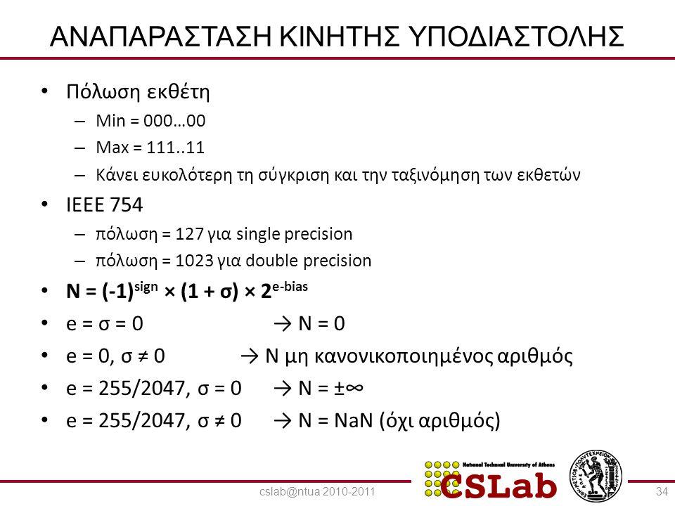 23/6/2014 ΑΝΑΠΑΡΑΣΤΑΣΗ ΚΙΝΗΤΗΣ ΥΠΟΔΙΑΣΤΟΛΗΣ • Decimal : - 0.75 = - (½ + ¼) • Binary: - 0.11 = - 1.1 x 2 -1 • Floating point: – Εκθέτης= 126 = 01111110 – Συντελεστής = 1 35cslab@ntua 2010-2011
