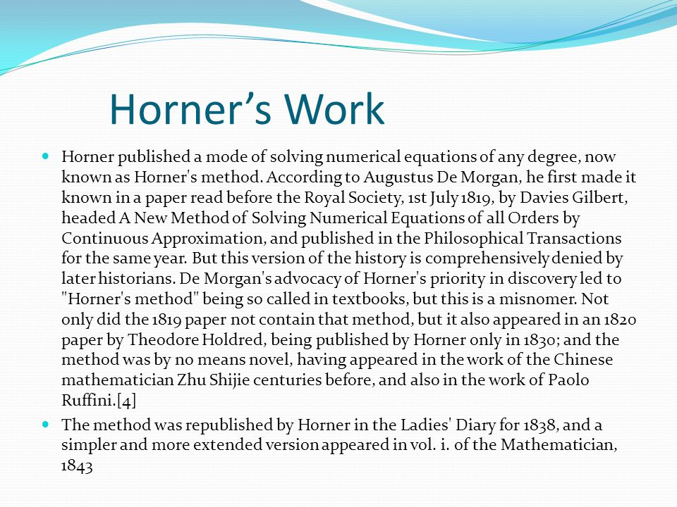 CONSTRUCTION OF HORNER'S TABLE