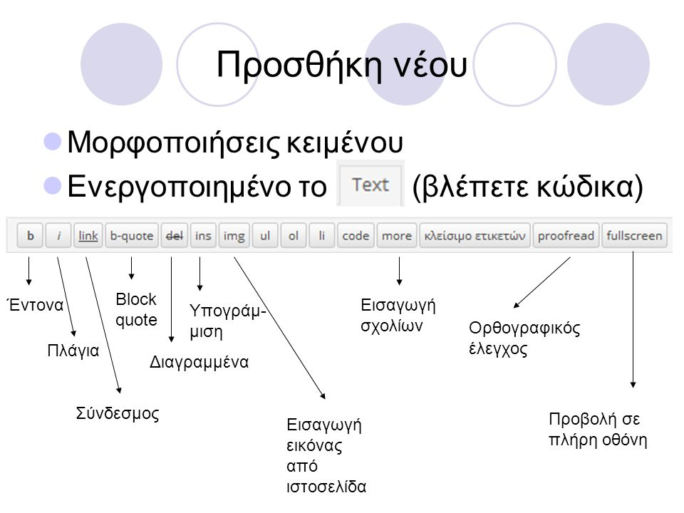 Προσθήκη νέου  Μορφοποιήσεις κειμένου  Ενεργοποιημένο το (βλέπετε αποτέλεσμα) Έντονα Πλάγια Διαγραμμένα Κουκίδες Αρίθμηση Block quote Αριστερή στοίχιση Κεντρική στοίχιση Δεξιά στοίχιση Εισαγωγή Συνδέσμου Κατάργηση συνδέσμου Ορθ.
