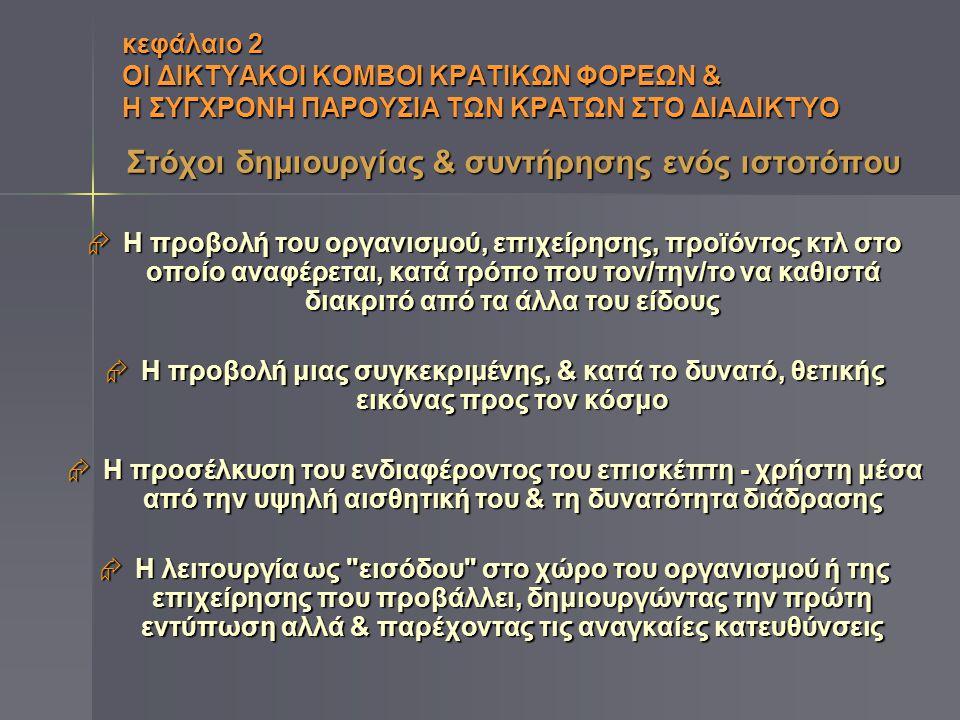 κεφάλαιο 2 ΟΙ ΔΙΚΤΥΑΚΟΙ ΚΟΜΒΟΙ ΚΡΑΤΙΚΩΝ ΦΟΡΕΩΝ & Η ΣΥΓΧΡΟΝΗ ΠΑΡΟΥΣΙΑ ΤΩΝ ΚΡΑΤΩΝ ΣΤΟ ΔΙΑΔΙΚΤΥΟ Ζητήματα επικοινωνιακής & δημόσιας διπλωματίας  Εξωτερική Πολιτική κρατών & Διπλωματία: δεν είναι έργο μόνο κυβερνήσεων & διπλωματών, αλλά & συντελεστών Δημόσιας Διπλωματίας, όπως ΜΜΕ, ΜΚΟ, Σχολές & Ινστιτούτα Διεθνών Σχέσεων κλπ  Επικοινωνιακή Διπλωματία: άρρηκτα συνυφασμένη με καλλιέργεια εικόνας κράτους & ελκυστικότητα πολιτικής ιδεολογίας του, προς εξυπηρέτηση των σκοπών εξωτερικής πολιτικής
