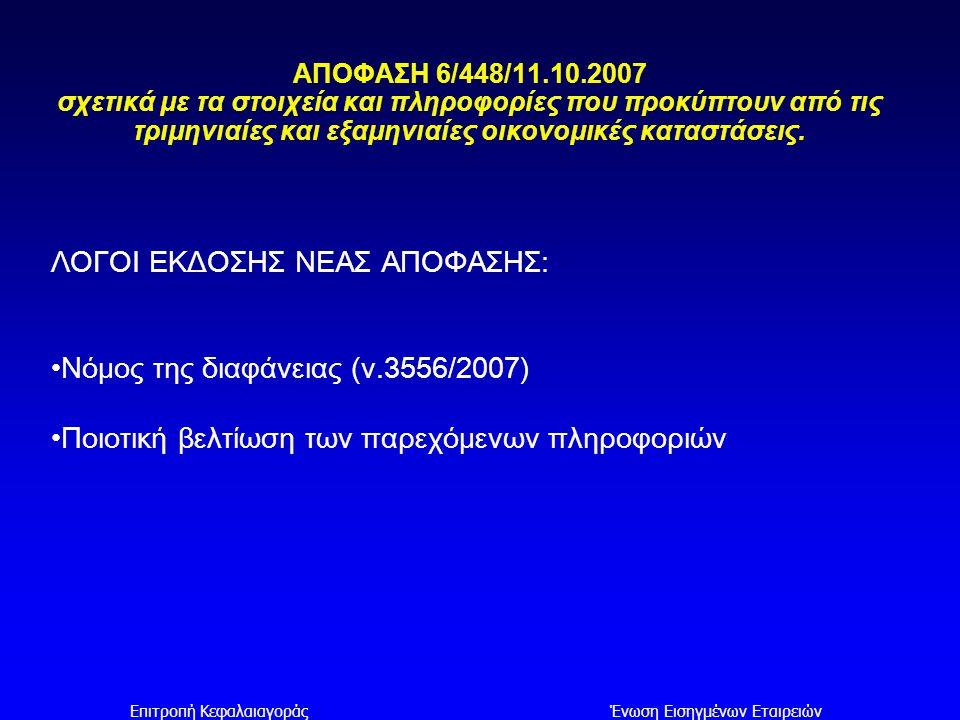 Επιτροπή ΚεφαλαιαγοράςΈνωση Εισηγμένων Εταιρειών ΚΥΡΙΟΤΕΡΑ ΣΗΜΕΙΑ ΔΙΑΦΟΡΟΠΟΙΗΣΗΣ ΤΗΣ ΑΠΟΦΑΣΗΣ 6/448/11.10.2007 ΑΠΟ ΤΗΝ 2/396/31.8.2006 ΠΑΡΑΡΤΗΜΑΤΑ Α & Β: ΥΠΟΔΕΙΓΜΑΤΑ ΠΙΝΑΚΩΝ ΣΤΟΙΧΕΙΑ ΙΣΟΛΟΓΙΣΜΟY  Ανάπτυξη των πάγιων στοιχείων ενεργητικού σε: -Ιδιοχρησιμοποιούμενα ενσώματα πάγια στοιχεία -Επενδύσεις σε ακίνητα -Άυλα περιουσιακά στοιχεία  Εμφάνιση κονδυλίων που σχετίζονται με διακοπείσες δραστηριότητες («Μη κυκλοφορούντα περιουσιακά στοιχεία προοριζόμενα για πώληση» και «Υποχρεώσεις που σχετίζονται με μη κυκλοφορούντα περιουσιακά στοιχεία προοριζόμενα για πώληση»)  Εμφάνιση του κονδυλίου «Μετοχικό Κεφάλαιο»  Αλλαγές προέκυψαν και στα υποδείγματα των χρηματοπιστωτικών ιδρυμάτων και ασφαλιστικών εταιριών, κυρίως αναφορικά με τα χρηματοοικονομικά στοιχεία, τα οποία απεικονίζονται ανάλογα με τη μέθοδο αποτίμησης τους, και όχι κατ΄ είδος.