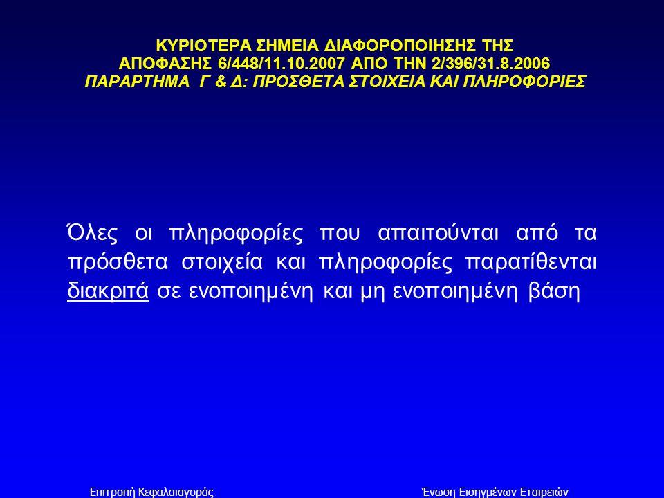 Επιτροπή ΚεφαλαιαγοράςΈνωση Εισηγμένων Εταιρειών ΚΥΡΙΟΤΕΡΑ ΣΗΜΕΙΑ ΔΙΑΦΟΡΟΠΟΙΗΣΗΣ ΤΗΣ ΑΠΟΦΑΣΗΣ 6/448/11.10.2007 ΑΠΟ ΤΗΝ 2/396/31.8.2006 ΠΑΡΑΡΤΗΜΑ Γ & Δ: ΠΡΟΣΘΕΤΑ ΣΤΟΙΧΕΙΑ ΚΑΙ ΠΛΗΡΟΦΟΡΙΕΣ ΕΞΑΛΕΙΨΗ ΣΗΜΕΙΩΣΗΣ: ζ.