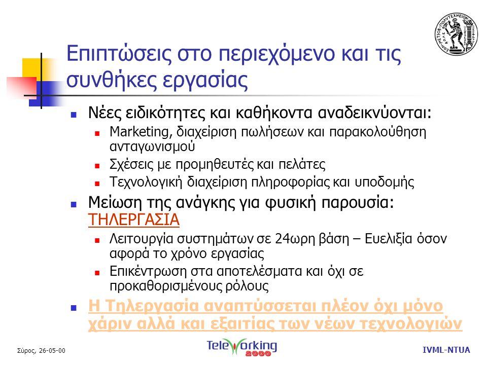 Σύρος, 26-05-00 IVML-NTUA Γενικά Συμπεράσματα / Προβληματισμοί  To Διαδίκτυο προσφέρει τη γενικευμένη και ολοκληρωμένη υποδομή για on-line τηλεργασία σε κάθε εργαζόμενο.