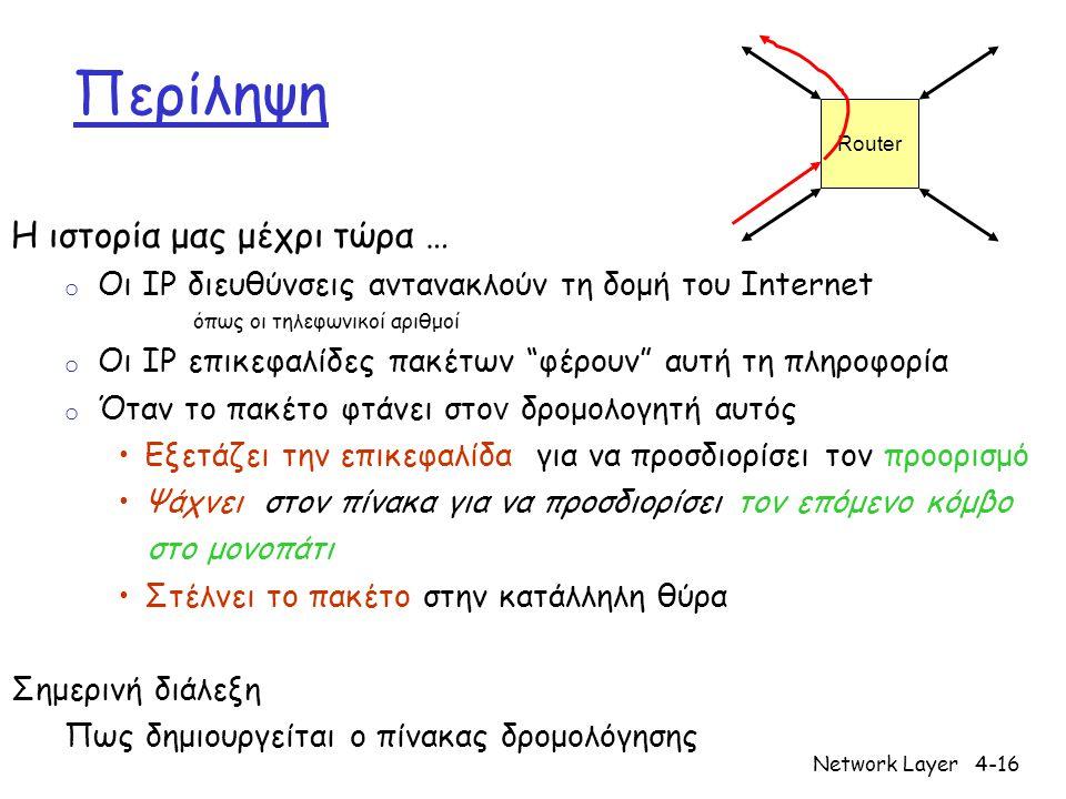Network Layer4-17 u y x wv z 2 2 1 3 1 1 2 5 3 5 Γράφος: G = (N,E) N = σύνολο δρομολογητών = {u, v, w, x, y, z } E = σύνολο ζεύξεων = { (u,v), (u,x), (v,x), (v,w), (x,w), (x,y), (w,y), (w,z), (y,z) } Αναπαράσταση γράφου (Graph abstraction)