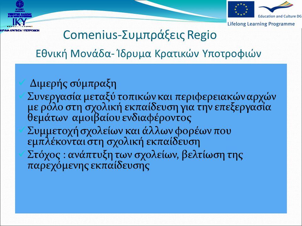 Comenius-Ενδοϋπηρεσιακή Κατάρτιση Εθνική Μονάδα- Ίδρυμα Κρατικών Υποτροφιών Εκπαιδευτικοί όλων των γνωστικών αντικειμένων που υπηρετούν στη σχολική εκπαίδευση  Συμμετοχή σε επιμορφωτικές δραστηριότητες στο εξωτερικό  Κύκλοι μαθημάτων/σεμινάρια, συνέδρια, τοποθέτηση σε σχολείο ή άλλο οργανισμό που εμπλέκεται με τη σχολική εκπαίδευση  Στόχος : βελτίωση διδακτικών δεξιοτήτων, επαφή με τα εκπαιδευτικά συστήματα των ευρωπαϊκών χωρών  Διάρκεια: 1 ημέρα – 6 εβδομάδες