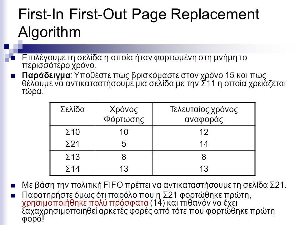 Not Recently Used (NRU) page replacement algorithm  NRU ψάχνει για μια σελίδα που δεν έχει χρησιμοποιηθεί «τελευταία».