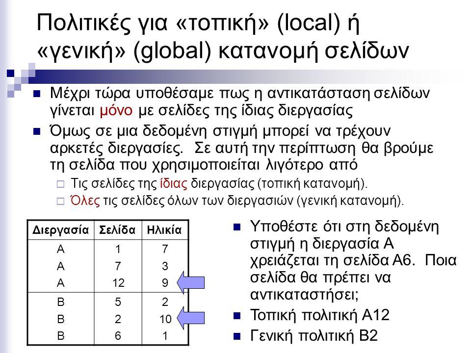 Πολιτικές για τοπική ή γενική κατανομή σελίδων  Σε σταθερές κατανομές, πως το ΛΣ αποφασίζει πόσες σελίδες να κατανείμει σε κάθε διεργασία;  Κάθε διεργασία παίρνει ίσο μερίδιο  Κάθε διεργασία παίρνει μερίδιο ανάλογο με το μέγεθος της  Οι γενικές κατανομές δουλεύουν καλύτερα απ' ότι οι τοπικές κατανομές ειδικά σε περιπτώσεις που χρησιμοποιείται το working set.