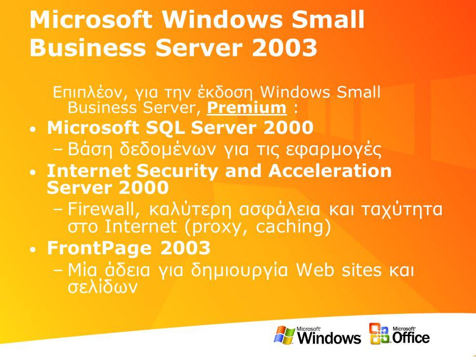 Η λύση … σε σχέση με τις ανάγκες Δεδομένα Δεδομένα ( Ασφάλεια, άμεση πρόσβαση, υψηλή διαθεσιμότητα) Διαχείριση Διαχείριση (από το συνεργάτη, άμεση ανταπόκριση) Επικοινωνία Επικοινωνία (καλύτερο e-mail, περισσότερες δυνατότητες, fax) SBS Wizards, Remote Administration SBS 2003: Η δύναμη του Windows Server 2003 σε κάθε επιχείρηση Exchange Server 2003, OWA, OMA, Shared Fax, Windows SharePoint Services
