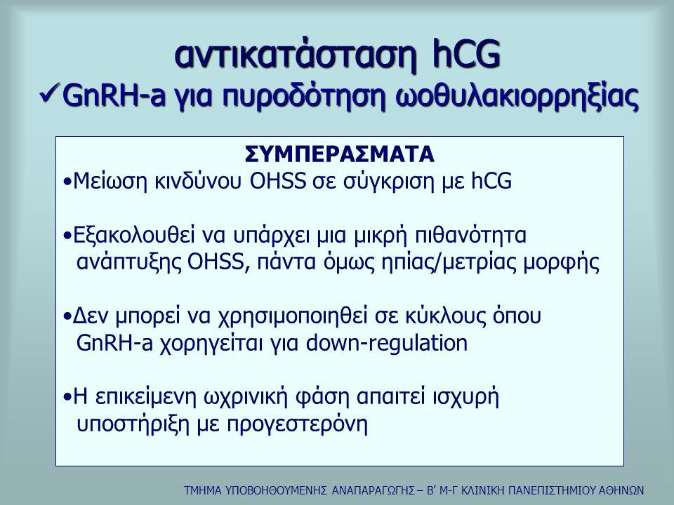 ΤΜΗΜΑ ΥΠΟΒΟΗΘΟΥΜΕΝΗΣ ΑΝΑΠΑΡΑΓΩΓΗΣ – Β' Μ-Γ ΚΛΙΝΙΚΗ ΠΑΝΕΠΙΣΤΗΜΙΟΥ ΑΘΗΝΩΝ αντικατάσταση hCG  rLH για πυροδότηση ωοθυλακιορρηξίας •Συγκριτική μελέτη 5000-30000iu rLH vs 5000iu hCG Ovarian enlargement, ascites, symptoms rLH up to 10000 iu0% rLH 30000 iu1/26 (3,8%) hCG 5000 iu13/121 (10,7%) ΣΥΜΠΕΡΑΣΜΑΤΑ •Πιθανώς ασφαλέστερη σε γυναίκες υψηλού κινδύνου •Προτεινόμενη δόση:15000-30000 iu εφάπαξ •Η rLH φαίνεται να έχει μεγαλύτερο χρόνο ημισίας ζωής in vivo συγκρινόμενη με την φυσική LH Loumaye et al, 1999 European Recombinant LH study Group, 2001