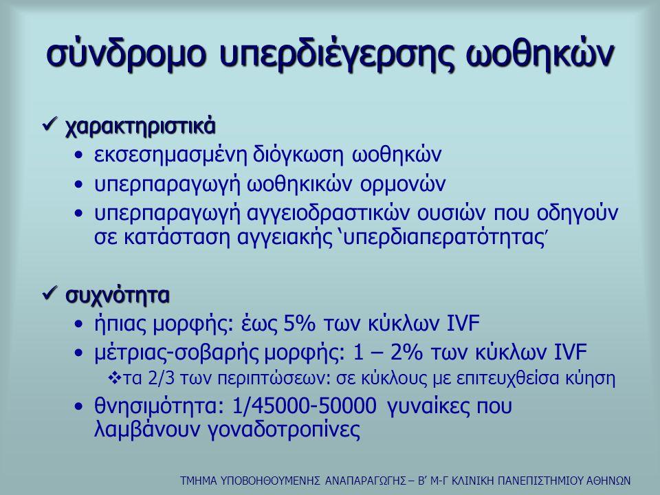 ΤΜΗΜΑ ΥΠΟΒΟΗΘΟΥΜΕΝΗΣ ΑΝΑΠΑΡΑΓΩΓΗΣ – Β' Μ-Γ ΚΛΙΝΙΚΗ ΠΑΝΕΠΙΣΤΗΜΙΟΥ ΑΘΗΝΩΝ αιτιολογία  κορυφαίος ρόλος της hCG (εξωγενούς-ενδογενούς)  κορυφαίος ρόλος του VEGF •ωοθηκική αγγειογένεση  ωοθυλακική φάση: ανάπτυξη τριχοειδικού δικτύου στην θήκη  ωχρινική φάση: εντονότατη και απαραίτητη •αύξηση αγγειακής διαπερατότητας •δράση και στην περιτοναϊκή κοιλότητα