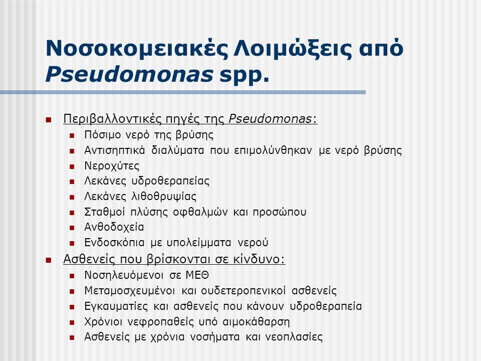 Νοσοκομειακές λοιμώξεις από άλλα Gram (-) παθογόνα  Burkholderia cepacia  Απεσταγμένο νερό, διαλύματα, απολυμαντικά  Συσκευές τεχνητού νεφρού  Νεφελοποιητές, αναπνευστήρες  Μπανιέρες, αντισηπτικό στοματοπλύσεων  Stenotrophomonas maltophilia  Απεσταγμένο νερό, νερό βρύσης  Διαλύματα φαρμάκων και απολυμαντικά  Νεφελοποιητές, αναπνευστήρες, συσκευές τεχνητού νεφρού  Ralstonia pickettii  Διαλύματα φεντανύλης και αναπνευστικής θεραπείας  Χλωρεξιδίνη  Απεσταγμένο νερό