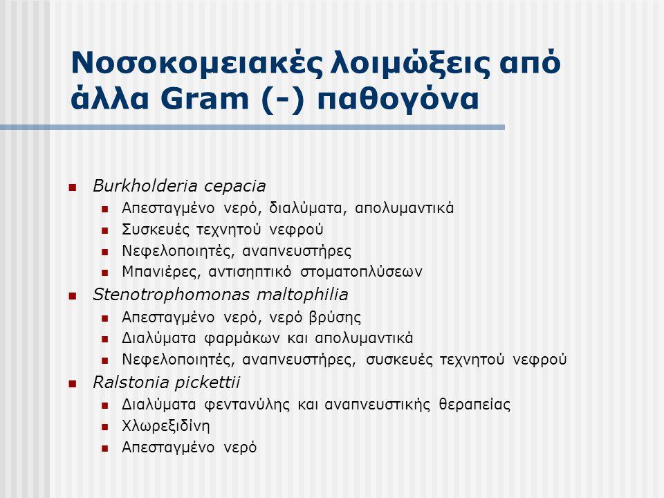 Νοσοκομειακές λοιμώξεις από άλλα Gram (-) παθογόνα  Serratia marcescens:  Πόσιμο νερό (βρύσης)  Αντισηπτικά διαλύματα (χλωρεξιδίνη, χλωριούχο βενζαλκόνιο)  Απολυμαντικά (γλουταραλδεϋδη, κλπ)  Acinetobacter spp.:  Συσκευές που εγκλωβίζουν υγρασία  Υγραντές ατμόσφαιρας  Επιφάνειες  Enterobacter spp.:  Ενδοφλέβια διαλύματα  Υγροποιητές  Βαμβακοφόροι στυλεοί  Αναπνευστήρες, αναλυτές αερίων  Ελαστικοί σωλήνες συσκευών αναρρόφησης