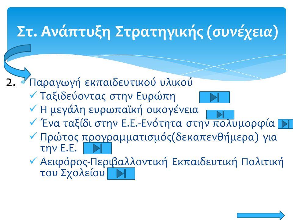  Έναρξη εφαρμογής ενοτήτων/Συντρέχουσα αξιολόγηση/Ανατροφοδότηση/Ανταλλαγή απόψεων/ Ανασχεδιασμός Αποτέλεσμα Ανάπτυξη της πολιτικής «Η οπτική της γνωριμίας με την Ευρώπη μέσα από τις εφαρμογές του αναλυτικού προγράμματος» 3.