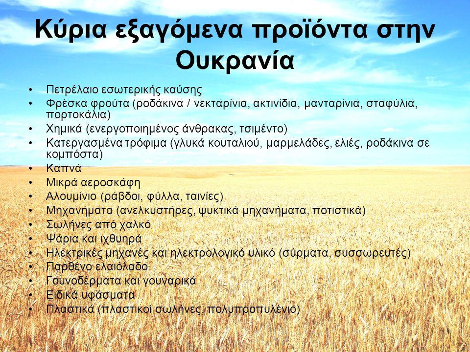 Κύρια εισαγόμενα προϊόντα από την Ουκρανία •Σίδηρος και χάλυβας •Ελαιώδεις καρποί •Ορυκτά καύσιμα •Έλαια και λίπη (ηλιέλαιο) •Δημητριακά (καλαμπόκι και σιτάρι) •Μηχανήματα •Καρποί και φρούτα •Λιπάσματα •Γυαλί •Ξυλεία και ξυλοκάρβουνα •Ταννίνες, χρωστικά και χρώματα •Ανόργανα χημικά •Μεταλλεύματα, σκουριές και τέφρες •Χαρτί •Σαπούνια