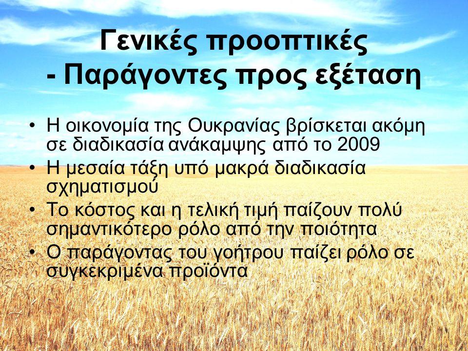 Προοπτικές •Τρόφιμα: –Άμεση κινητοποίηση για μεσοπρόθεσμα αποτελέσματα –Ελλιπής γνώση για μεσογειακή διατροφή –Έλλειψη διαφημιστικών / προωθητικών ενεργειών –Τουρισμός - ευκαιρία στους Ουκρανούς καταναλωτές να γευτούν τα ελληνικά διατροφικά προϊόντα •Φρούτα: –Ήδη σε αρκετά καλές θέσεις στις εισαγωγές της Ουκρανίας –Σημαντικό περιθώριο επέκτασης της παρουσίας τους –Απαιτούνται ενεργητικότερες προσωπικές επαφές (επισκέψεις, παρουσίες σε διεθνείς εκθέσεις)