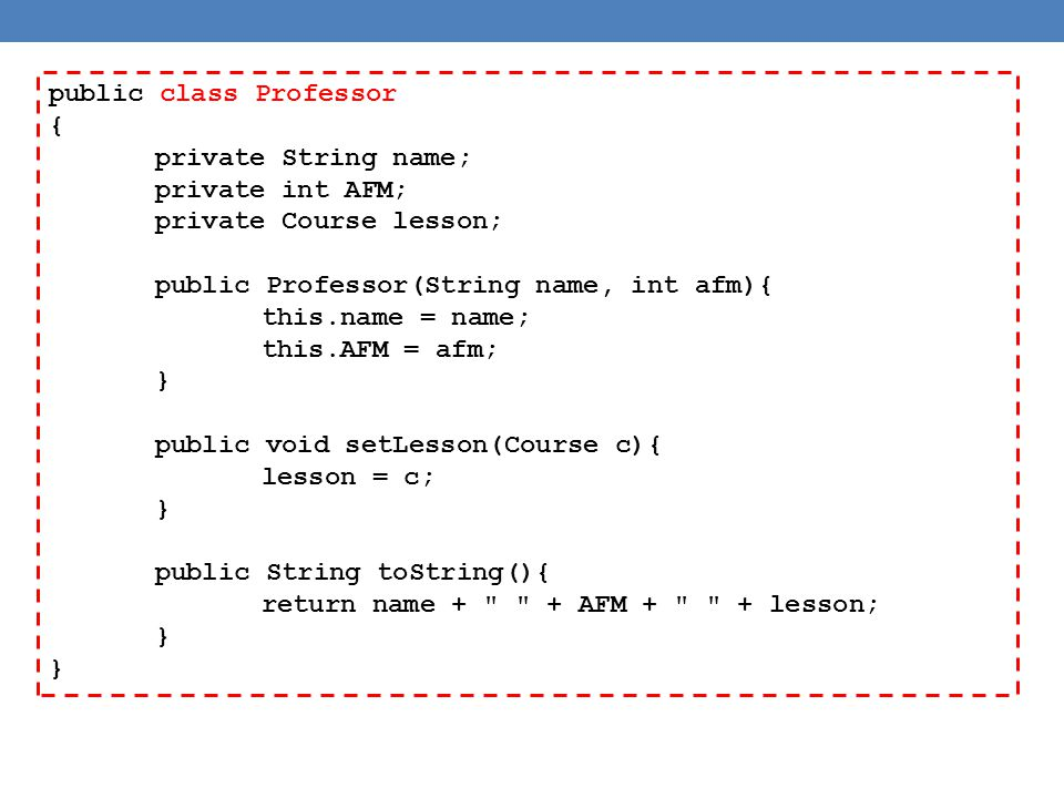 public class Student { private String name; private int AM; private int units = 0; public Student(String name, int am){ this.name = name; this.AM = am; } public String getName(){ return name; } public void addUnits(int units){ this.units += units; } public String toString(){ return name + AM: + AM + units: + units; }