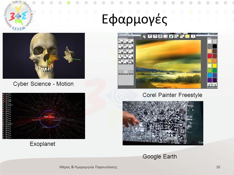 Google Glasses Μέρος & Ημερομηνία Παρουσίασης11 • Νέα τεχνολογία από την Google • Φοριέται σαν γυαλια • Είσοδος: Φωνητικές εντολές, φυσική γλώσσα • Έξοδος: Φωνητικές απαντήσεις, Μικροοθόνη προβολής • Καταγραφικός εξοπλισμός • Διατέθηκε πιλοτικά από την google σε developers το 2013 • Μεγάλο ενδιαφέρον για χρήση • Ανοικτό προγραμματιστικό περιβάλλον • http://www.google.com/glass/start/ http://www.google.com/glass/start/
