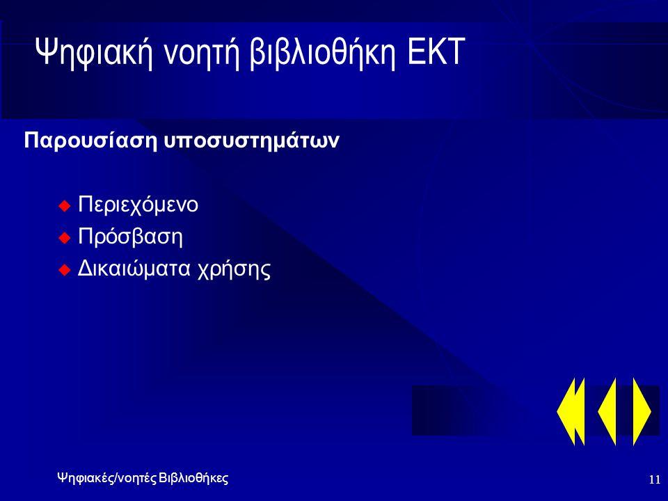 Ψηφιακές/νοητές Βιβλιοθήκες 11 Ψηφιακή νοητή βιβλιοθήκη ΕΚΤ Παρουσίαση υποσυστημάτων u Περιεχόμενο u Πρόσβαση u Δικαιώματα χρήσης