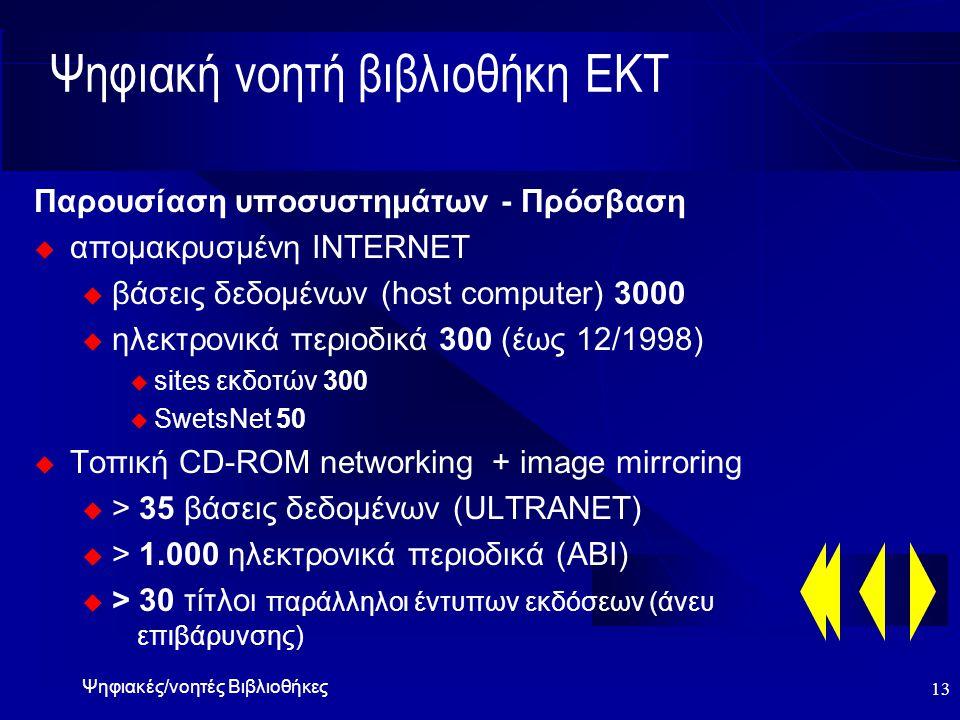 Ψηφιακές/νοητές Βιβλιοθήκες 13 Ψηφιακή νοητή βιβλιοθήκη ΕΚΤ Παρουσίαση υποσυστημάτων - Πρόσβαση  απομακρυσμένη INTERNET u βάσεις δεδομένων (host computer) 3000 u ηλεκτρονικά περιοδικά 300 (έως 12/1998)  sites εκδοτών 300  SwetsNet 50  Τοπική CD-ROM networking + image mirroring u > 35 βάσεις δεδομένων (ULTRANET) u > 1.000 ηλεκτρονικά περιοδικά (ΑΒΙ) u > 30 τίτλοι παράλληλοι έντυπων εκδόσεων (άνευ επιβάρυνσης)