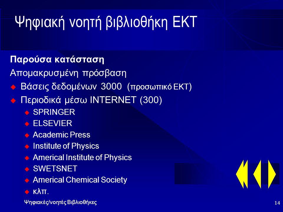 Ψηφιακές/νοητές Βιβλιοθήκες 14 Ψηφιακή νοητή βιβλιοθήκη ΕΚΤ Παρούσα κατάσταση Απομακρυσμένη πρόσβαση  Βάσεις δεδομένων 3000 ( προσωπικό ΕΚΤ )  Περιοδικά μέσω INTERNET (300) u SPRINGER u ELSEVIER u Academic Press u Institute of Physics u Americal Institute of Physics u SWETSNET u Americal Chemical Society u κλπ.