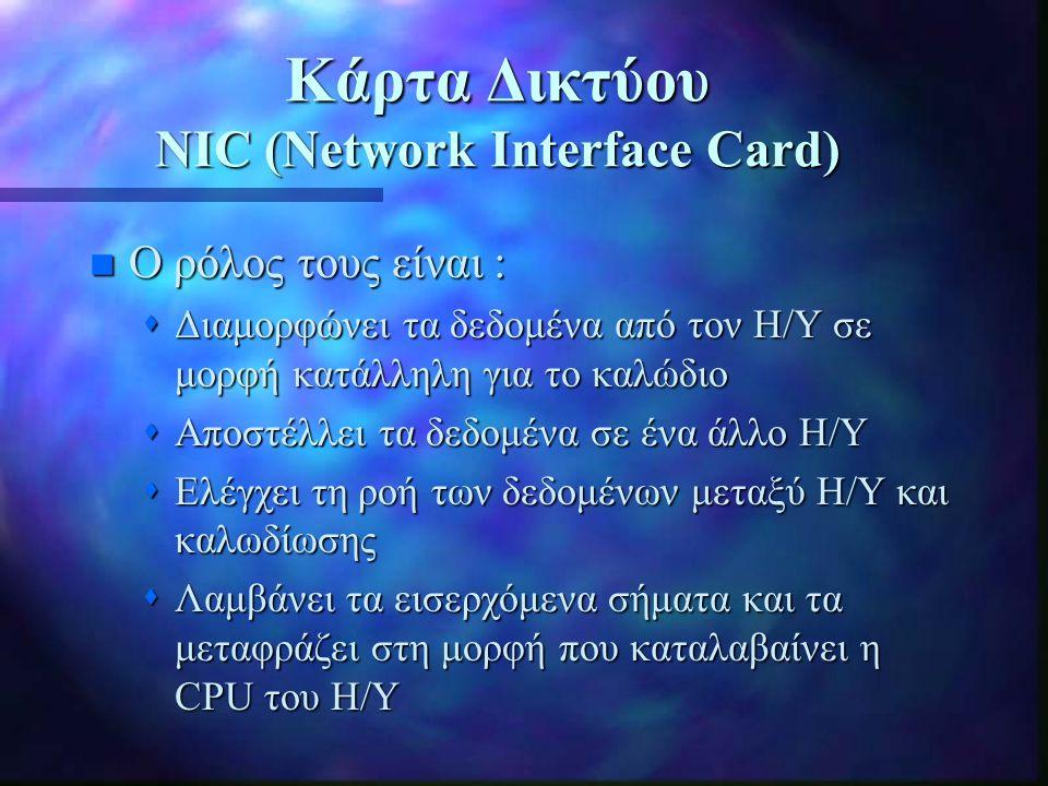 Κάρτες Δικτύου n Προετοιμασία δεδομένων  Handshaking - Duplexing n Διεύθυνση δικτύου (Network address)  Mac address π.χ.