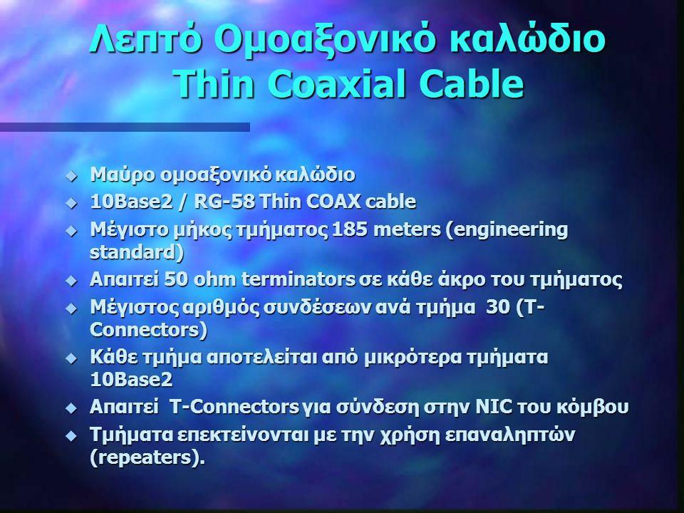Λεπτό Ομοαξονικό καλώδιο Thin Coaxial Cable Για την σύνδεση χρησιμοποιούνται ακροδέκτες τύπου BNC (British Naval Connector)