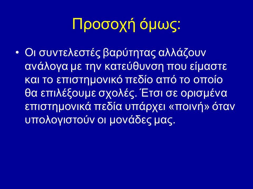 Παράδειγμα: για έναν υποψήφιο θεωρητικής κατεύθυνσης οι συντελεστές βαρύτητας για το 1ο πεδίο είναι για τα Αρχαία Ελληνικά 1,3 και για την Ιστορία 0,7 ενώ για έναν υποψήφιο τεχνολογικής κατεύθυνσης, που επιθυμεί να επιλέξει το 1ο πεδίο οι συντελεστές βαρύτητας των μαθημάτων που αντικαθιστούν τα Αρχαία Ελληνικά και την Ιστορία είναι χαμηλότεροι (για την Νεοελληνική Γλώσσα 0,9 και για την Ιστορία ΓΠ 0,4).