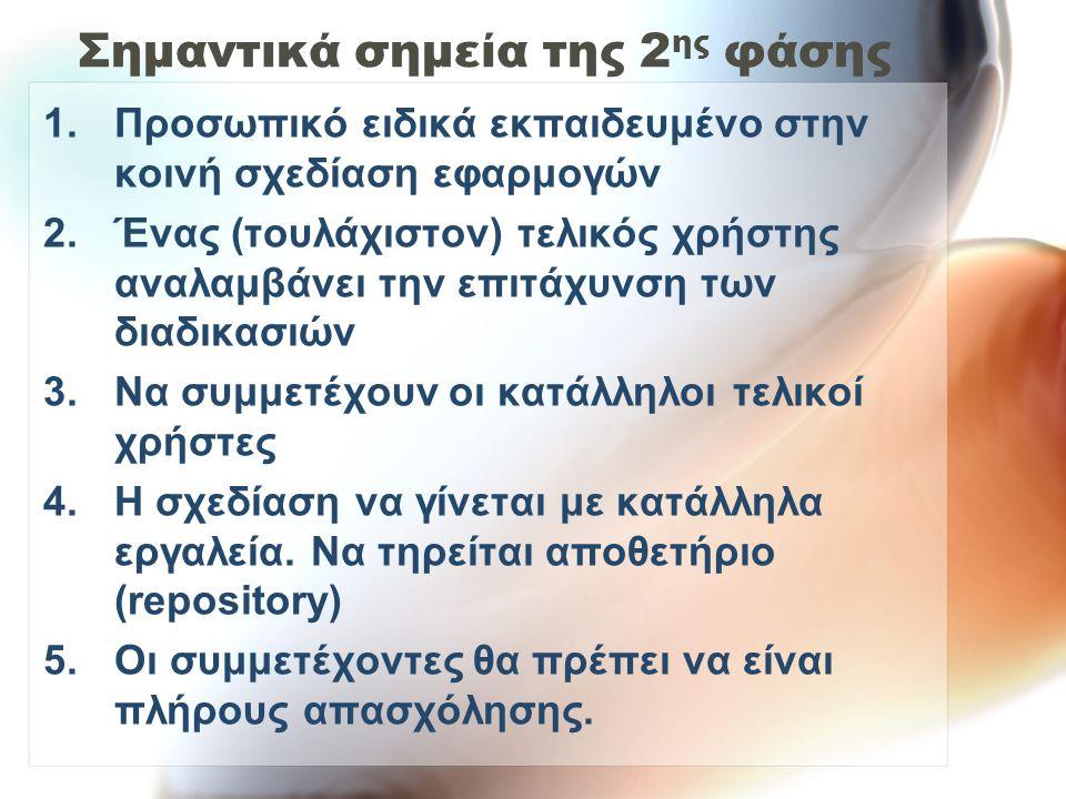 Σημαντικά σημεία της 2 ης φάσης 6.Οι πληροφορίες που χρησιμοποιούνται πρέπει να αντλούνται από το repository 7.Καμία διακοπή (π.χ.