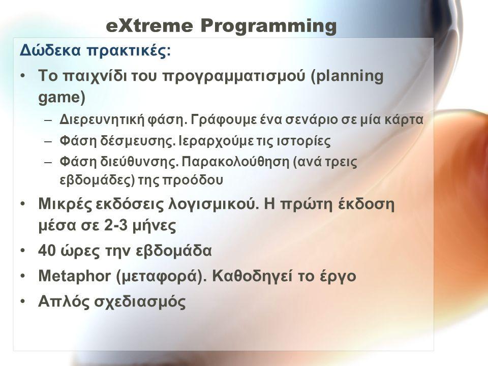 eXtreme Programming Δώδεκα πρακτικές: Έλεγχος.Σχέδιο ελέγχου πριν την υλοποίηση.