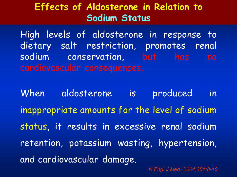 Physiologic and Pathophysiologic Effects of Aldosterone on the Kidney and Heart in Relation to Dietary Salt levels N Engl J Med.