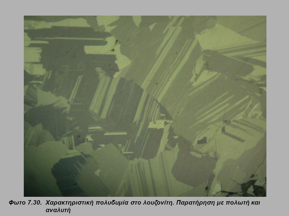 Φωτο 7.31.Εναργίτης (En) και λουζονίτης (Luz) με μόνο τον πολωτή (αριστερά) και με πολωτή και αναλυτή (δεξιά).