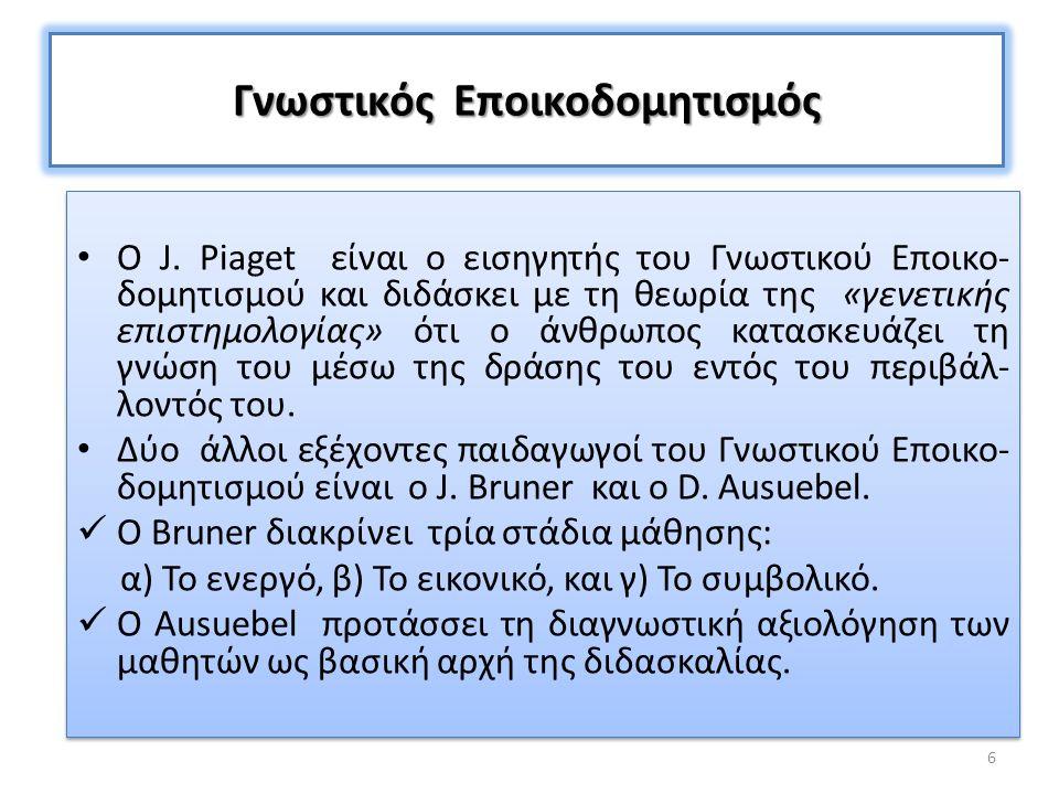 Κοινωνικός Εποικοδομητισμός Ο L.Vygotsky είναι εισηγητής του Κοινωνικού Εποικο- δομητισμού.