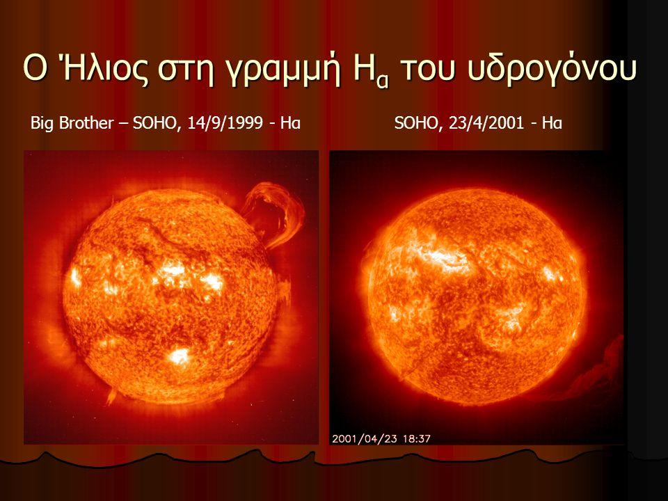 Φυσικά χαρακτηριστικά του Ήλιου 99% της ολικής μάζας του ηλιακού συστήματος Ηλικία: 5 δισεκατομμύρια έτη Θερμοκρασία πυρήνα: 15 εκατομμύρια Κ Πυρηνικές αντιδράσεις στο εσωτερικό του Απόσταση: 150 εκατομμύρια χλμ = 1 AU Γωνιώδης διάμετρος: 32 ́ (μισή περίπου μοίρα) Ακτίνα: 700 000 χλμ Θερμοκρασία επιφάνειας: 5800 Κ Μάζα: 2 × 10 33 gr