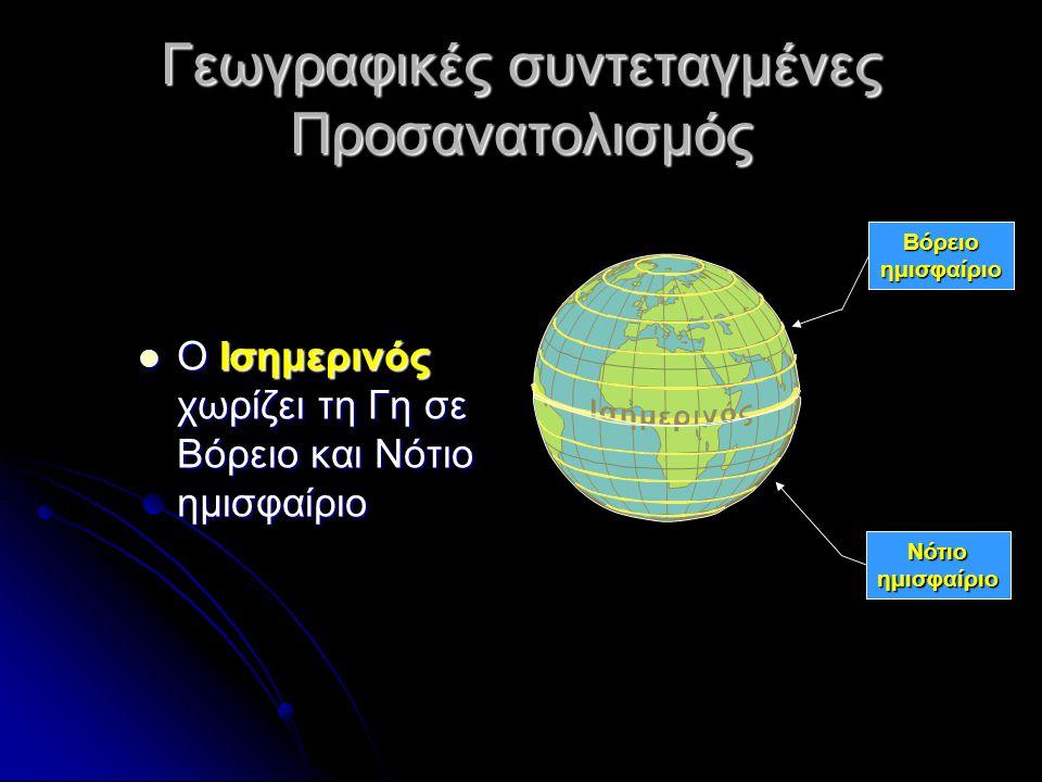 Γεωγραφικές συντεταγμένες Προσανατολισμός Οι γραμμές που ενώνουν τους πόλους λέγονται μεσημβρινοί Οι γραμμές που ενώνουν τους πόλους λέγονται μεσημβρινοί Ως αρχή θεωρούμε τον 1 ο Μεσημβρινό που περνά από το αστεροσκοπείο του Γκρήνουιτς στη Μ.