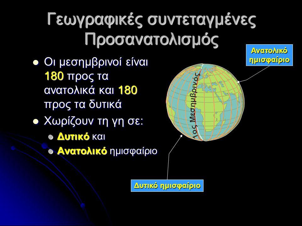 Γεωγραφικές συντεταγμένες Γεωγραφικό μήκος Γεωγραφικό μήκος Γεωγραφικό πλάτος Γεωγραφικό πλάτος Η απόσταση ενός τόπου από τον Ισημερινό λέγεται γεωγραφικό πλάτος Η απόσταση ενός τόπου από τον 1ο Μεσημβρινό λέγεται γεωγραφικό μήκος