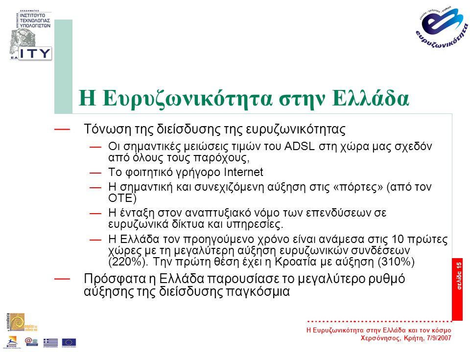 Η Ευρυζωνικότητα στην Ελλάδα και τον κόσμο Χερσόνησος, Κρήτη, 7/9/2007 σελίδα 16 Η Ευρυζωνικότητα στην Ελλάδα — Ο αριθμός των ευρυζωνικών συνδέσεων παρουσιάζει ταχεία ανάπτυξη —760 χιλιάδες στις 30/6/2007 από 488 χιλιάδες στις 31/12/2006 (αύξηση 55%) —εκτιμάται πως θα φτάσου το ορόσημο του ενός εκατομμυρίου συνδέσεων μέχρι το τέλος του έτους.