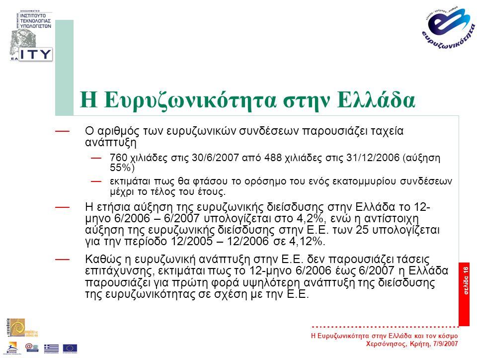 Η Ευρυζωνικότητα στην Ελλάδα και τον κόσμο Χερσόνησος, Κρήτη, 7/9/2007 σελίδα 17 Η Ευρυζωνικότητα στην Ελλάδα — Αλματώδη αύξηση παρουσίασε κατά το Α εξάμηνο 2007 η Αδεσμοποίητη Πρόσβαση στον Τοπικό Βρόχο (ΑΠΤΒ).