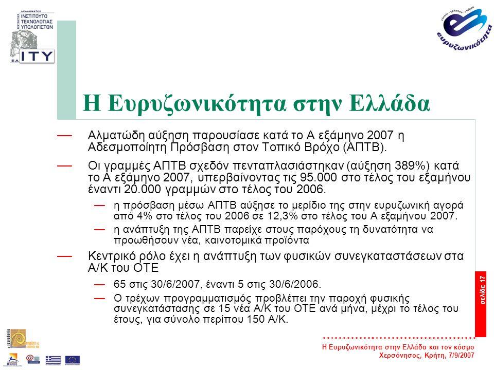 Η Ευρυζωνικότητα στην Ελλάδα και τον κόσμο Χερσόνησος, Κρήτη, 7/9/2007 σελίδα 18 Η Ευρυζωνικότητα στην Ελλάδα