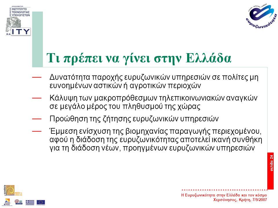 Η Ευρυζωνικότητα στην Ελλάδα και τον κόσμο Χερσόνησος, Κρήτη, 7/9/2007 σελίδα 25 Η ευρυζωνικότητα στο Ε.Π.