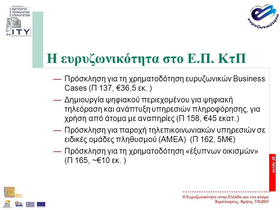 Η Ευρυζωνικότητα στην Ελλάδα και τον κόσμο Χερσόνησος, Κρήτη, 7/9/2007 σελίδα 27 Η ευρυζωνικότητα στο Ε.Π.