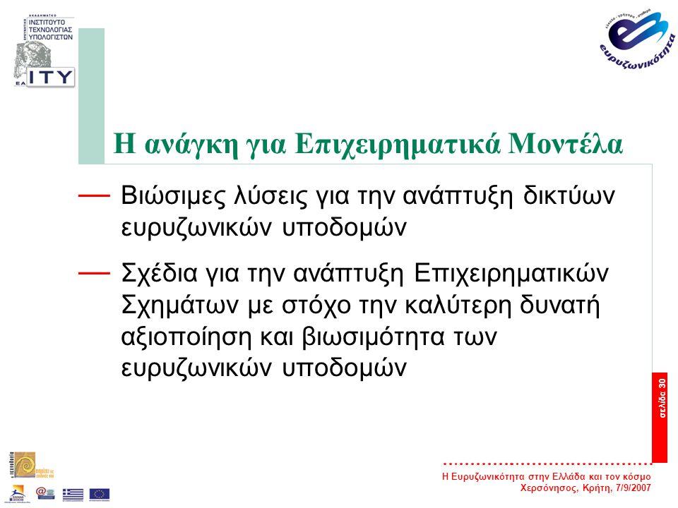 Η Ευρυζωνικότητα στην Ελλάδα και τον κόσμο Χερσόνησος, Κρήτη, 7/9/2007 σελίδα 31 Βασικά επίπεδα ενός EM