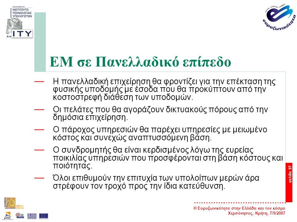 Η Ευρυζωνικότητα στην Ελλάδα και τον κόσμο Χερσόνησος, Κρήτη, 7/9/2007 σελίδα 38 Πληροφορίες Για περισσότερες πληροφορίες και υποστηρικτικό υλικό, επισκεφθείτε το δικτυακό τόπο του έργου «Προώθηση της Ευρυζωνικότητας στην Περιφέρεια Δυτικής Ελλάδας» — http://ru6.cti.gr/broadband/ http://ru6.cti.gr/broadband/