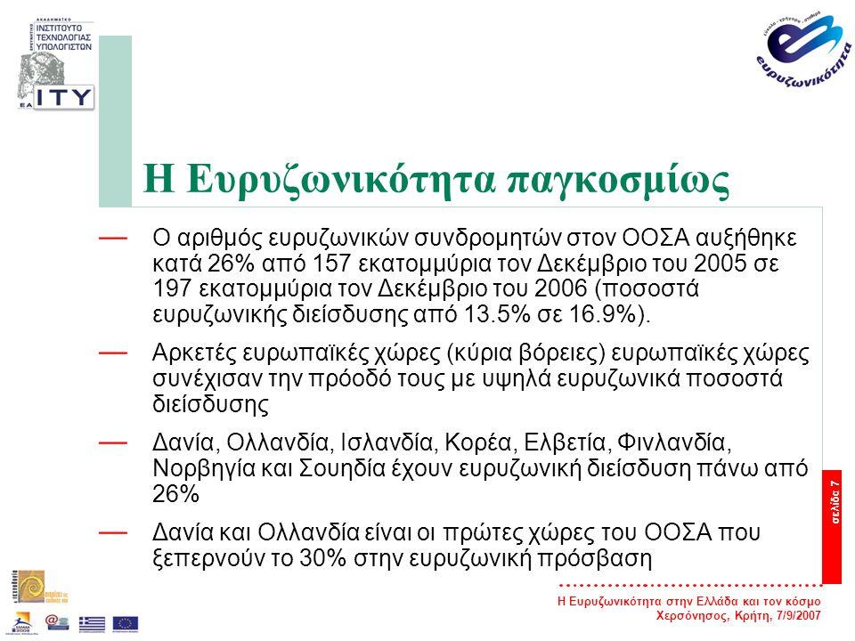 Η Ευρυζωνικότητα στην Ελλάδα και τον κόσμο Χερσόνησος, Κρήτη, 7/9/2007 σελίδα 8 Η Ευρυζωνικότητα παγκοσμίως — Η μεγαλύτερη κατά κεφαλήν αύξηση συνδρομητών έγινε στη Δανία, στην Ολλανδία, στη Νέα Ζηλανδία και στην Ιρλανδία.