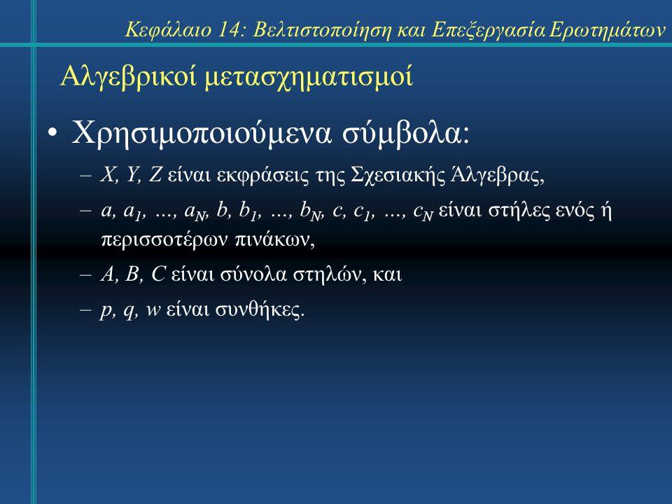 Κεφάλαιο 14: Βελτιστοποίηση και Επεξεργασία Ερωτημάτων Αλγεβρικοί μετασχηματισμοί Κανόνες μετασχηματισμού