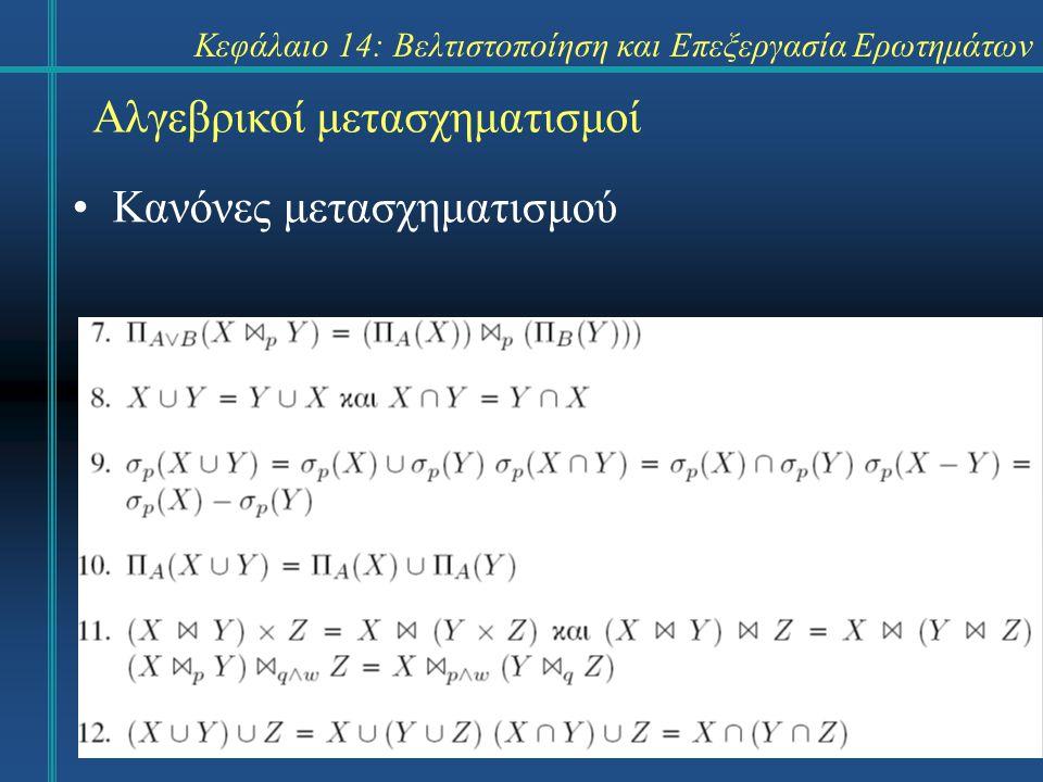 Κεφάλαιο 14: Βελτιστοποίηση και Επεξεργασία Ερωτημάτων Αλγεβρικοί μετασχηματισμοί Ένα δένδρο έκφρασης (expression tree) περιγράφει σχηματικά τις πράξεις που λαμβάνουν χώρα.