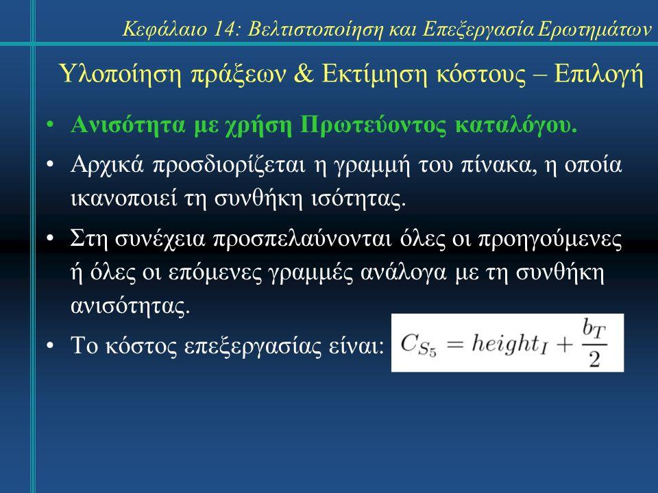 Κεφάλαιο 14: Βελτιστοποίηση και Επεξεργασία Ερωτημάτων Ανισότητα με χρήση Δευτερεύοντος καταλόγου.
