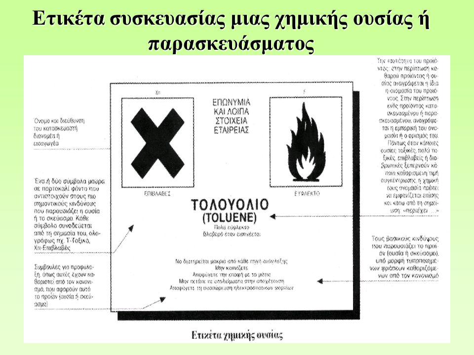 Παροχή πληροφοριών για τις επικίνδυνες χημικές ουσίες [1] Παροχή πληροφοριών για τις επικίνδυνες χημικές ουσίες [1] Άρθρο 25 του Ν.1568/1985, Οδηγία 91/155 ΕΟΚ Υποχρεώσεις εργοδοτών, παρασκευαστών, εισαγωγέων και προμηθευτών: 1.Ο εργοδότης οφείλει να γνωρίζει τους κινδύνους τους οποίους συνεπάγονται για την υγεία των εργαζομένων, παράγοντες που χρησιμοποιούνται ή δημιουργούνται στους τόπους εργασίας και, προκειμένου να συμμορφωθεί με τις παραπάνω απαιτήσεις, δικαιούται να ζητά από τον παρασκευαστή, εισαγωγέα ή προμηθευτή των παραγόντων αυτών πληροφορίες για τους κινδύνους που συνεπάγονται για την υγεία των εργαζομένων όσο και τις μεθόδους ασφαλούς χρήσης τους.