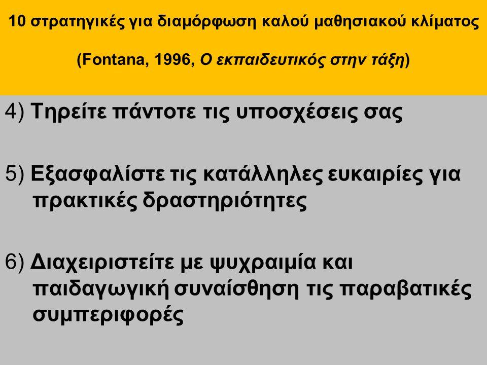 10 στρατηγικές για διαμόρφωση καλού μαθησιακού κλίματος (Fontana, 1996, Ο εκπαιδευτικός στην τάξη) 7) Αποφύγετε τις συγκρίσεις 8) Να είστε ενήμεροι για οτιδήποτε συμβαίνει στην τάξη 9) Μην καθυστερείτε τη βαθμολόγηση 10) Μοιράστε δίκαια την προσοχή σας