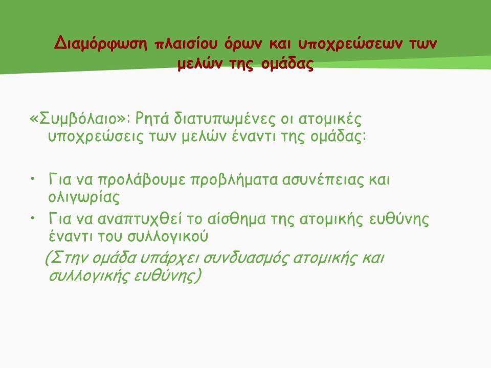 Δημιουργία των ομάδων- συμβόλαιο συνεργασίας Συμβόλαιο: 1 χαρτόνι σε κάθε ομάδα όπου θα αναφέρονται οι υποχρεώσεις τους.